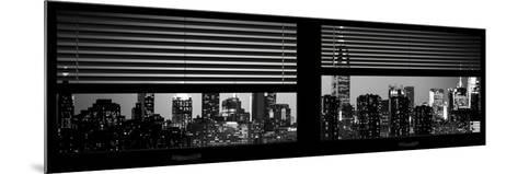 Window View with Venetian Blinds: Manhattan Skyline by Night with the Empire State Building-Philippe Hugonnard-Mounted Photographic Print