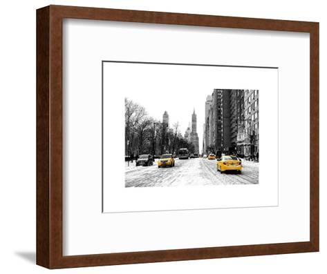 Urban Street Scene with a Yellow Taxi in Snow-Philippe Hugonnard-Framed Art Print