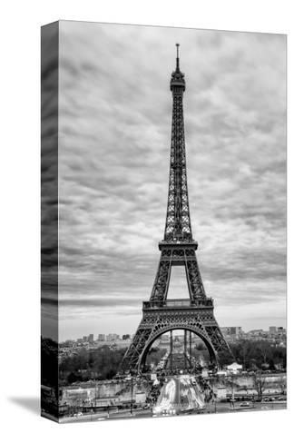 Eiffel Tower, Paris, France - White Frame and Full Format - Black and White Photography-Philippe Hugonnard-Stretched Canvas Print