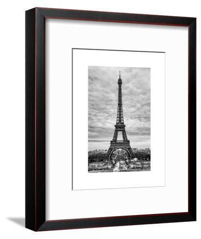 Eiffel Tower, Paris, France - White Frame and Full Format - Black and White Photography-Philippe Hugonnard-Framed Art Print