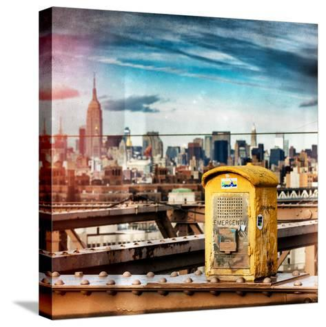 Instants of NY Series - Police Emergency Call Box on Walkway of Brooklyn Bridge-Philippe Hugonnard-Stretched Canvas Print