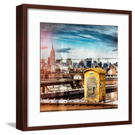 Instants of NY Series - Police Emergency Call Box on Walkway of Brooklyn Bridge-Philippe Hugonnard-Framed Art Print