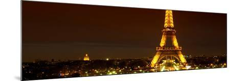 Panoramic Cityscape Paris with Eiffel Tower at Night-Philippe Hugonnard-Mounted Photographic Print