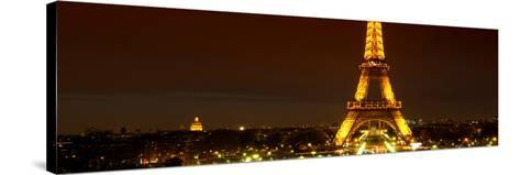 Panoramic Cityscape Paris with Eiffel Tower at Night-Philippe Hugonnard-Stretched Canvas Print