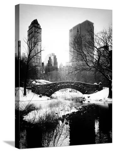 Snowy Gapstow Bridge of Central Park, Manhattan in New York City-Philippe Hugonnard-Stretched Canvas Print