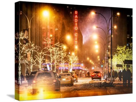 Instants of NY Series - Street Scenes and Urban Night Landscape in Winter under the Snow-Philippe Hugonnard-Stretched Canvas Print