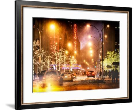 Instants of NY Series - Street Scenes and Urban Night Landscape in Winter under the Snow-Philippe Hugonnard-Framed Art Print