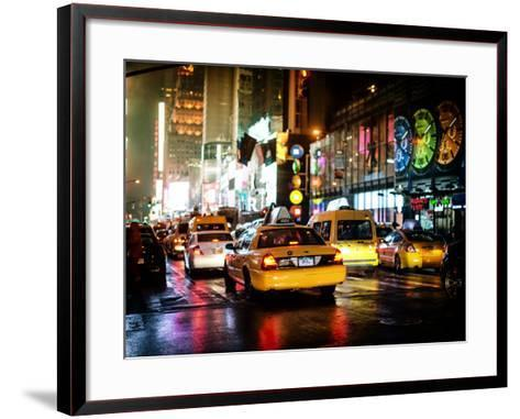 Yellow Cab on 7th Avenue at Times Square by Night-Philippe Hugonnard-Framed Art Print