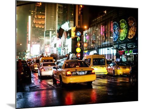Yellow Cab on 7th Avenue at Times Square by Night-Philippe Hugonnard-Mounted Photographic Print