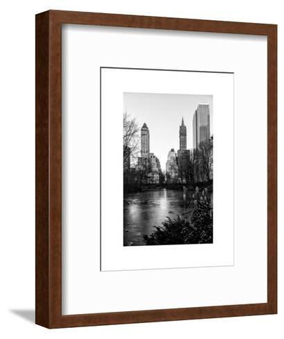 """Frozen Lake """"The Pond"""" in Central Park with 5th Avenue Buildings-Philippe Hugonnard-Framed Art Print"""