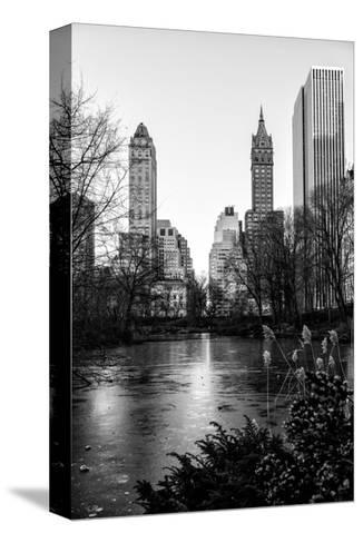 """Frozen Lake """"The Pond"""" in Central Park with 5th Avenue Buildings-Philippe Hugonnard-Stretched Canvas Print"""