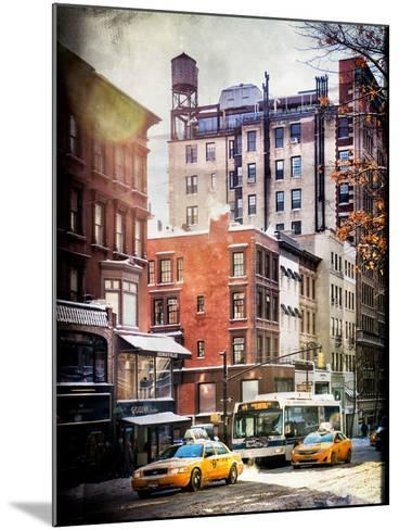 Instants of NY Series - Urban Street Scene with Yellow Taxi in Winter-Philippe Hugonnard-Mounted Photographic Print