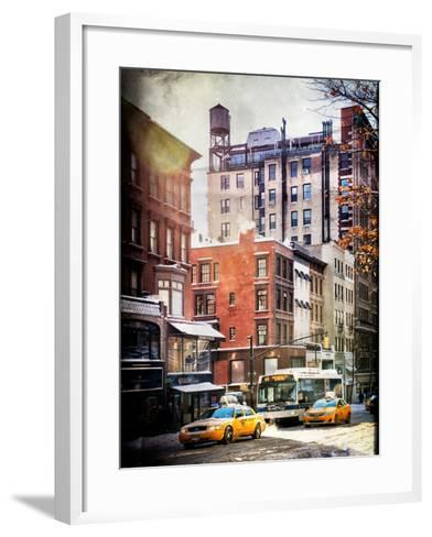 Instants of NY Series - Urban Street Scene with Yellow Taxi in Winter-Philippe Hugonnard-Framed Art Print