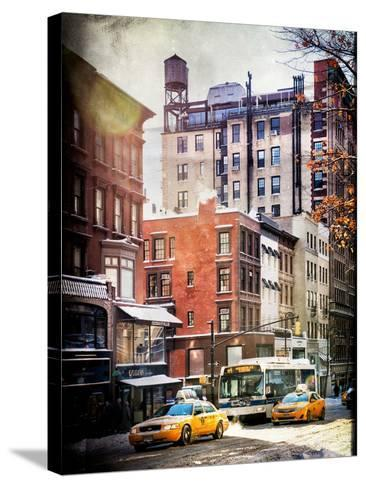 Instants of NY Series - Urban Street Scene with Yellow Taxi in Winter-Philippe Hugonnard-Stretched Canvas Print