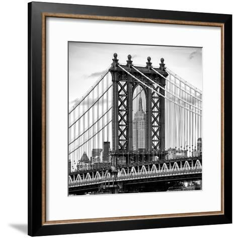 Manhattan Bridge with the Empire State Building Center from Brooklyn Bridge-Philippe Hugonnard-Framed Art Print