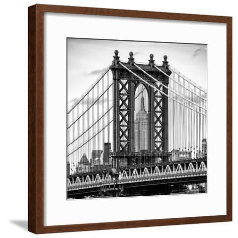 Manhattan Bridge with the Empire State Building Center from Brooklyn Bridge-Philippe Hugonnard-Framed Art Print