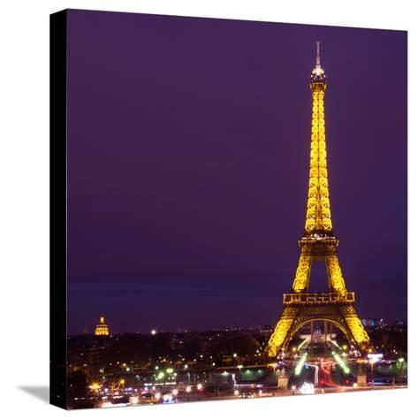 Cityscape Paris with Eiffel Tower at Night - Square Format Photography-Philippe Hugonnard-Stretched Canvas Print