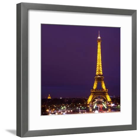 Cityscape Paris with Eiffel Tower at Night - Square Format Photography-Philippe Hugonnard-Framed Art Print