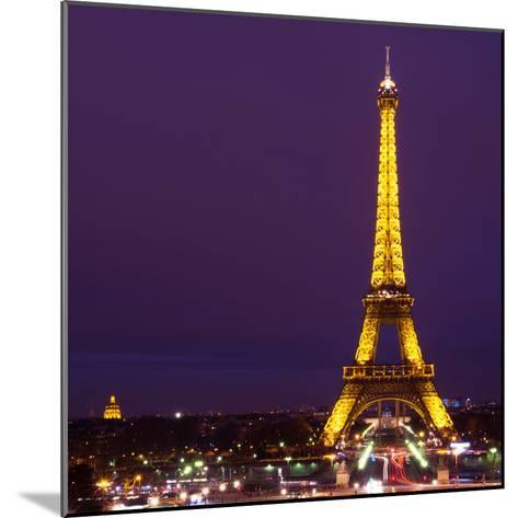 Cityscape Paris with Eiffel Tower at Night - Square Format Photography-Philippe Hugonnard-Mounted Photographic Print