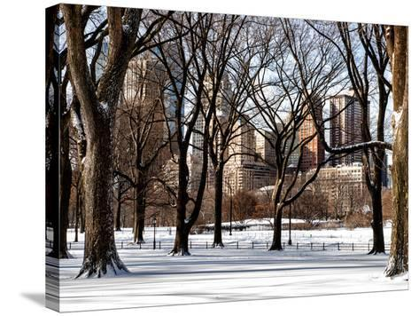 Winter Snow in Central Park View-Philippe Hugonnard-Stretched Canvas Print
