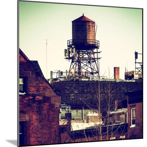 Water Tank on the Roof of Buildings in Manhattan in Winter-Philippe Hugonnard-Mounted Photographic Print