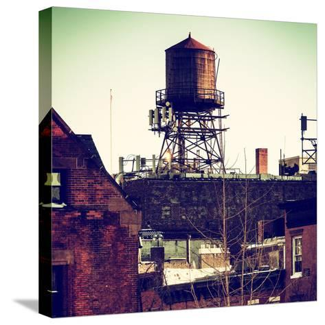 Water Tank on the Roof of Buildings in Manhattan in Winter-Philippe Hugonnard-Stretched Canvas Print