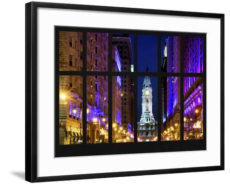 Window View - City Hall and Avenue of the Arts by Night - Philadelphia - Pennsylvania-Philippe Hugonnard-Framed Art Print