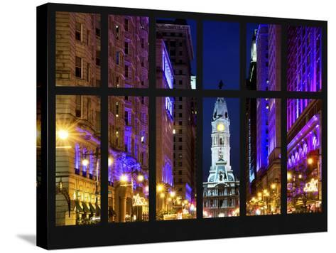 Window View - City Hall and Avenue of the Arts by Night - Philadelphia - Pennsylvania-Philippe Hugonnard-Stretched Canvas Print