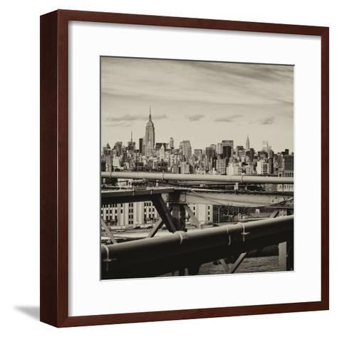 View of Brooklyn Bridge with the Empire State Buildings-Philippe Hugonnard-Framed Art Print
