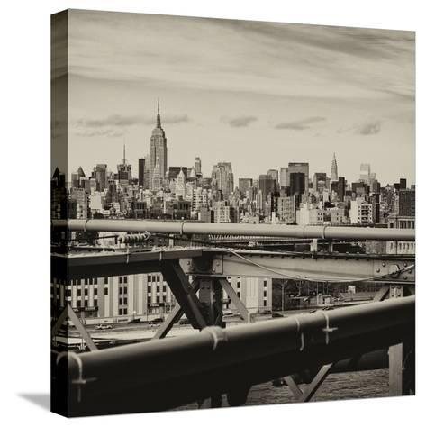 View of Brooklyn Bridge with the Empire State Buildings-Philippe Hugonnard-Stretched Canvas Print