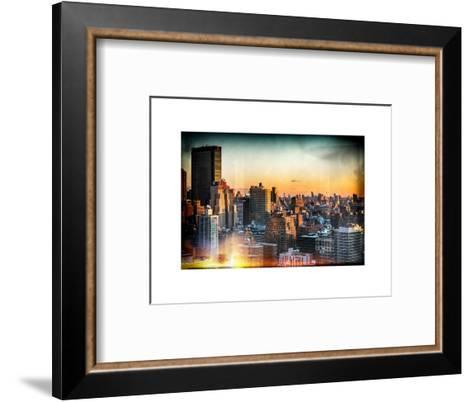 Instants of NY Series - Cityscape of Manhattan in Winter at Sunset-Philippe Hugonnard-Framed Art Print
