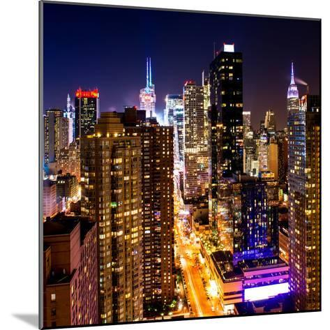 View of Skyscrapers of Times Square and 42nd Street at Night-Philippe Hugonnard-Mounted Photographic Print