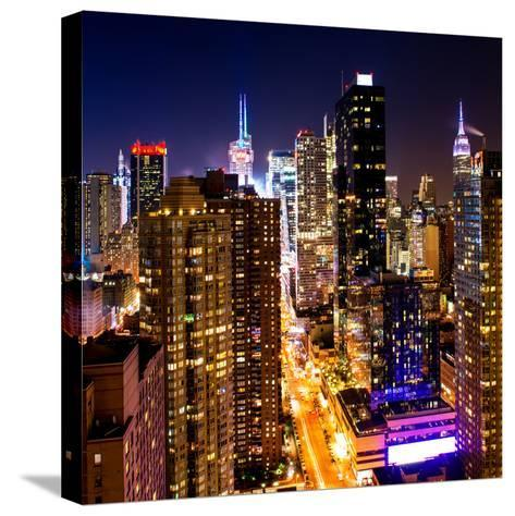 View of Skyscrapers of Times Square and 42nd Street at Night-Philippe Hugonnard-Stretched Canvas Print