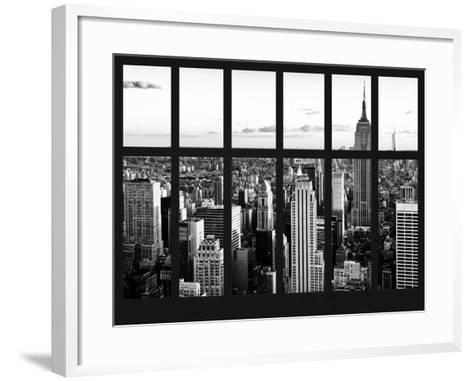 Window View - Landscape with the Empire State Building and the 1 WTC - Manhattan - NYC-Philippe Hugonnard-Framed Art Print