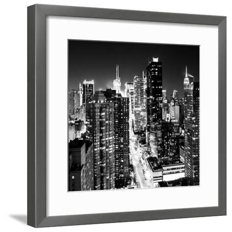 View of Skyscrapers of Times Square and 42nd Street at Night-Philippe Hugonnard-Framed Art Print
