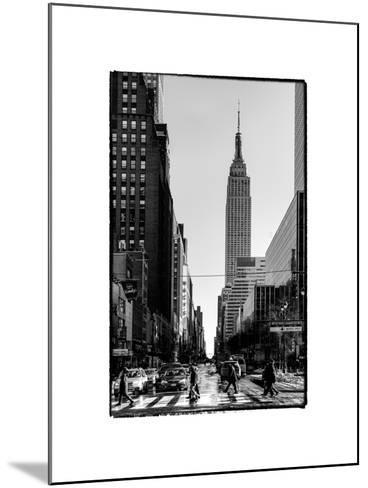Urban Street Scene with the Empire State Building in Winter-Philippe Hugonnard-Mounted Photographic Print
