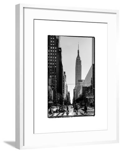 Urban Street Scene with the Empire State Building in Winter-Philippe Hugonnard-Framed Art Print