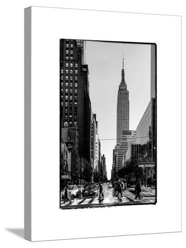 Urban Street Scene with the Empire State Building in Winter-Philippe Hugonnard-Stretched Canvas Print