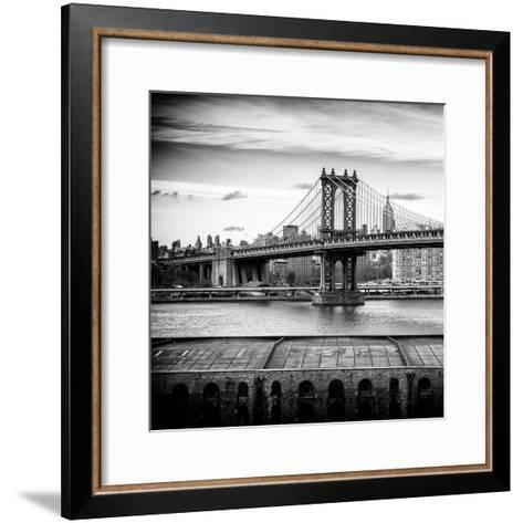 Manhattan Bridge with the Empire State Building from Brooklyn-Philippe Hugonnard-Framed Art Print