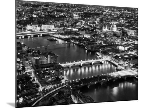 View of City of London with St. Paul's Cathedral and River Thames at Night - London - UK - England-Philippe Hugonnard-Mounted Photographic Print