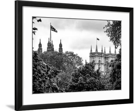 St James's Park with Flags Floating over the Rooftops of the Palace of Westminster - London-Philippe Hugonnard-Framed Art Print