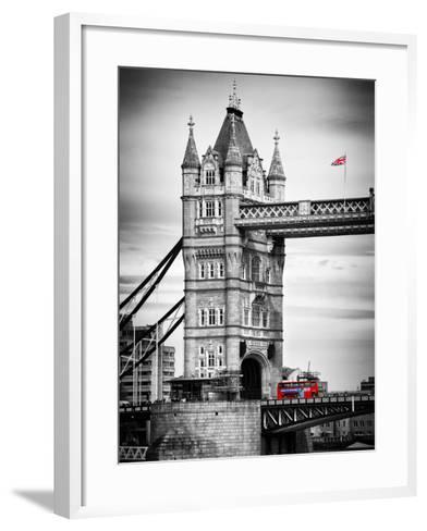 Tower Bridge with Red Bus in London - City of London - UK - England - United Kingdom - Europe-Philippe Hugonnard-Framed Art Print