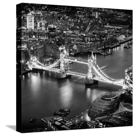 View of City of London with the Tower Bridge at Night - London - UK - England - United Kingdom-Philippe Hugonnard-Stretched Canvas Print