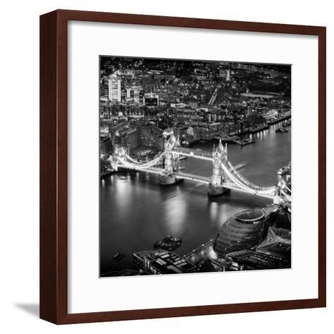 View of City of London with the Tower Bridge at Night - London - UK - England - United Kingdom-Philippe Hugonnard-Framed Art Print