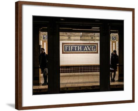 Moment of Life in NYC Subway Station to the Fifth Avenue - Manhattan - New York-Philippe Hugonnard-Framed Art Print