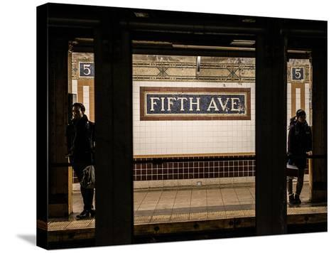 Moment of Life in NYC Subway Station to the Fifth Avenue - Manhattan - New York-Philippe Hugonnard-Stretched Canvas Print