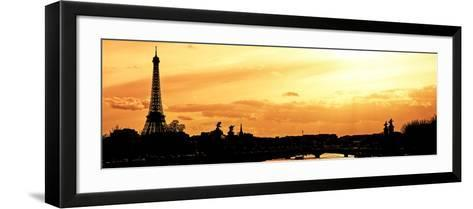 Barge on the River Seine with Views of the Eiffel Tower and Alexandre III Bridge - Paris - France-Philippe Hugonnard-Framed Art Print