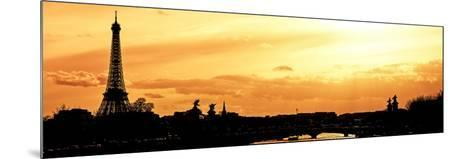 Barge on the River Seine with Views of the Eiffel Tower and Alexandre III Bridge - Paris - France-Philippe Hugonnard-Mounted Photographic Print