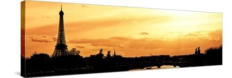 Barge on the River Seine with Views of the Eiffel Tower and Alexandre III Bridge - Paris - France-Philippe Hugonnard-Stretched Canvas Print