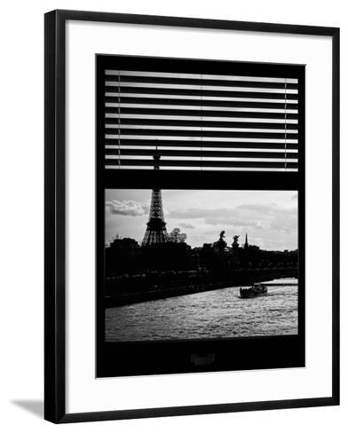 Window View - Color Sunset in Paris with the Eiffel Tower and the Seine River - France - Europe-Philippe Hugonnard-Framed Art Print